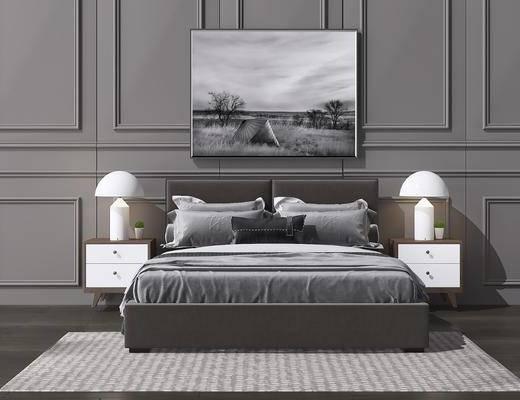 床具组合, 双人床, 床头柜, 台灯, 装饰画, 挂画, 北欧
