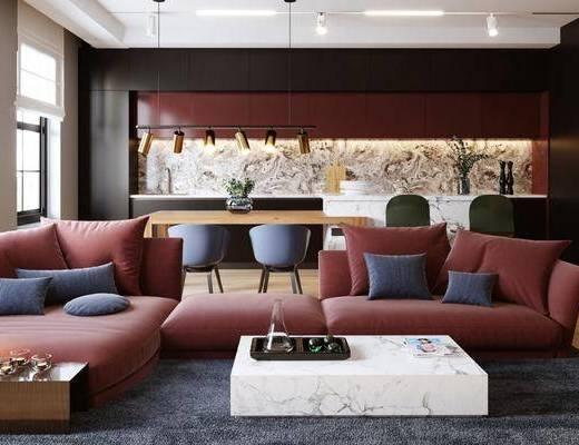沙发组合, 茶几, 餐桌, 单椅, 摆件组合