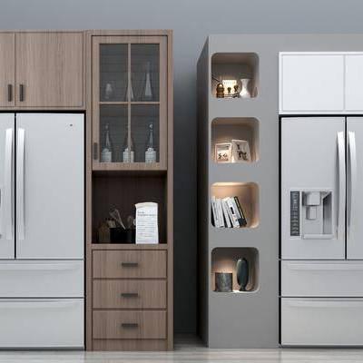 现代酒柜冰箱组合, 现代, 酒柜, 冰箱, 装饰品, 摆件, 酒