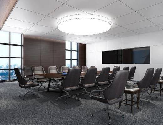 会议室, 单人椅, 办公椅, 吊灯, 现代