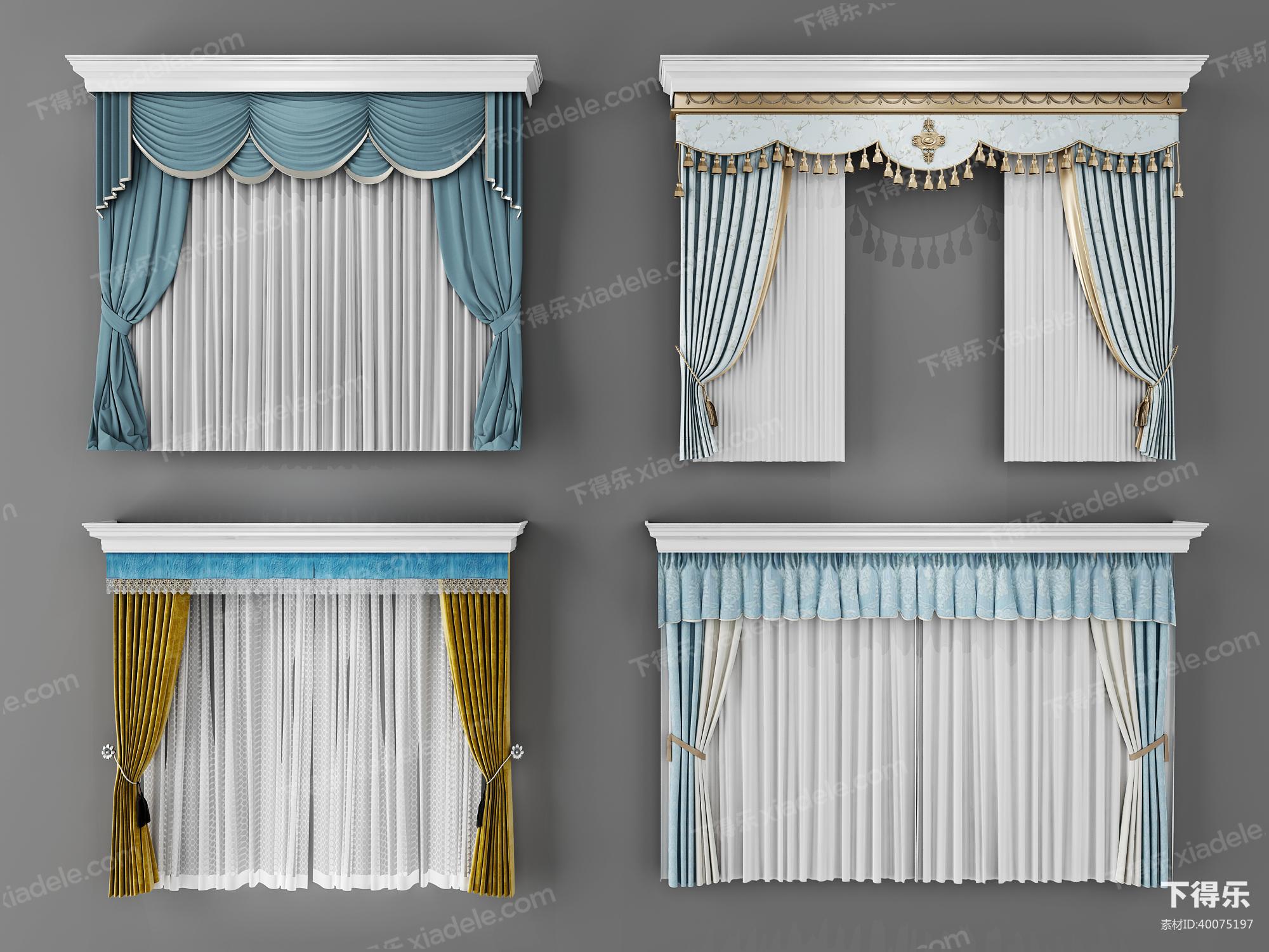 欧式窗帘效果图_3d窗帘模型_窗帘3d模型下载-下得乐
