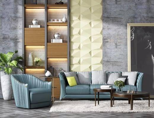 沙发组合, 多人沙发, 茶几, 单人沙发, 盆栽, 绿植植物, 装饰画, 挂画, 背景墙, 摆件, 装饰品, 陈设品, 现代