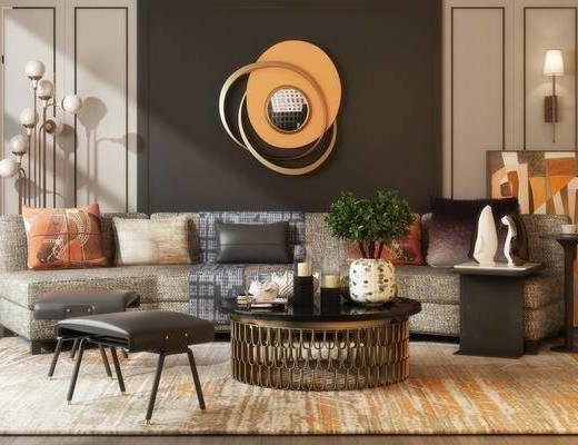 现代沙发茶几组合, 现代沙发, 茶几, 现代, 落地灯, 壁灯, 凳子