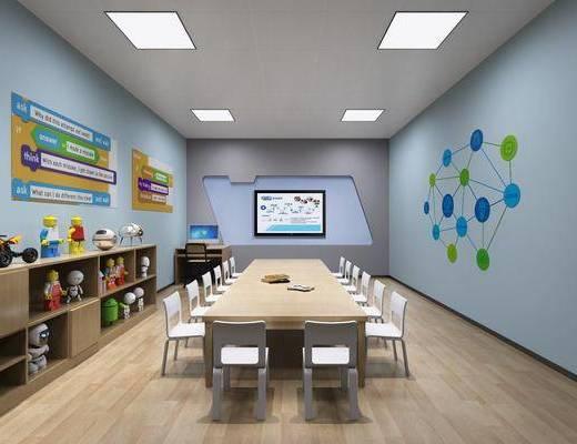 儿童教室, 儿童玩具, 机器人玩具, 儿童桌椅, 桌子, 单人椅, 现代