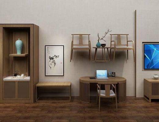 边柜, 置物柜, 装饰柜, 桌椅, 单椅, 椅子, 新中式, 中式