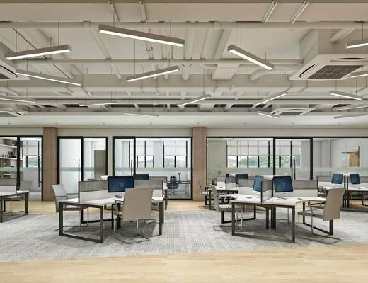 工业风, 办公区, 办公室, 办公桌, 办公椅, 吊灯, 排气扇, 管道, 书柜, 置物柜