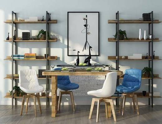 餐厅, 餐桌, 餐椅, 单人椅, 装饰架, 置物架, 装饰画, 挂画, 摆件, 装饰品, 陈设品, 北欧