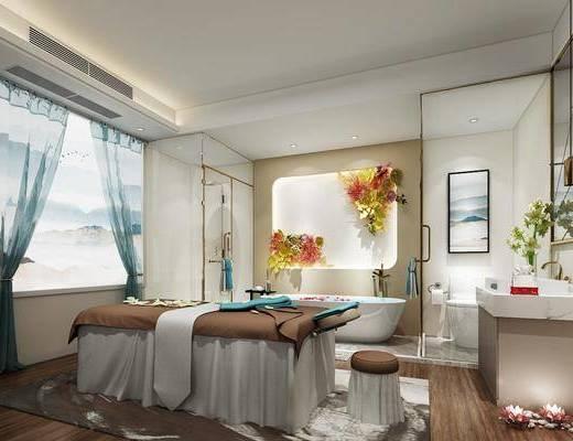 美容房, 洗手台, 装饰画, 挂画, 按摩床, 镜子, 浴缸, 装饰品, 现代