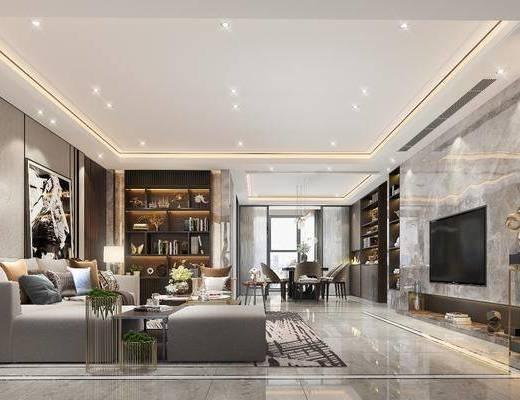 客厅, 餐厅, 现代客餐厅, 沙发组合, 茶几, 单椅, 书柜, 摆件组合