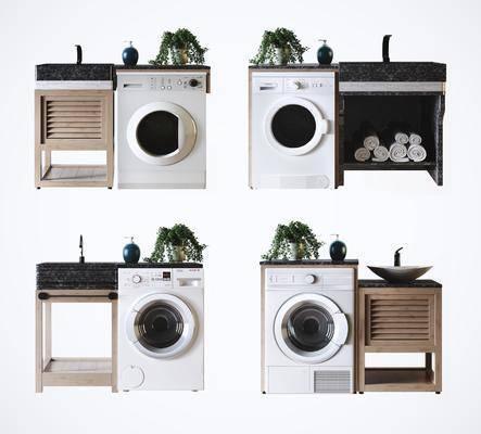 洗手台, 橱柜组合, 洗衣机