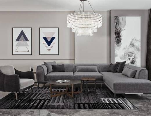 沙发组合, 茶几, 吊灯, 单椅, 装饰画, 摆件