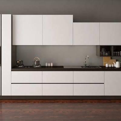 现代厨房整体橱柜, 现代, 厨房, 橱柜, 冰箱, 灶台