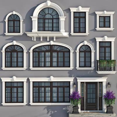 简欧, 窗户组合, 玻璃窗, 平开窗, 窗