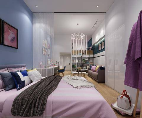现代公寓, 公寓, 双人床, 沙发组合