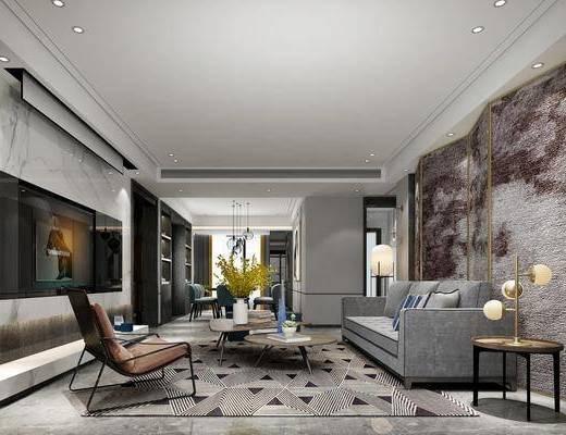 客厅, 餐厅, 多人沙发, 边几, 台灯, 茶几, 单人椅, 壁灯, 餐桌, 餐椅, 装饰画, 挂画, 摆件, 装饰品, 陈设品, 现代
