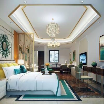 公寓, 客厅, 卧室, 吊灯, 后现代, 边柜, 装饰画, 挂画