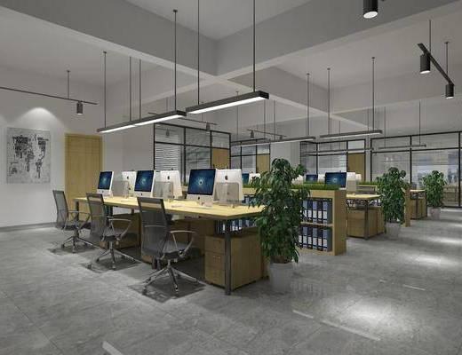办公室, 办公区, 现代办公区, 桌椅组合, 文件夹