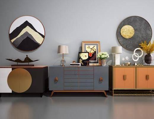 矮柜, 装饰柜, 端景柜, 摆件组合