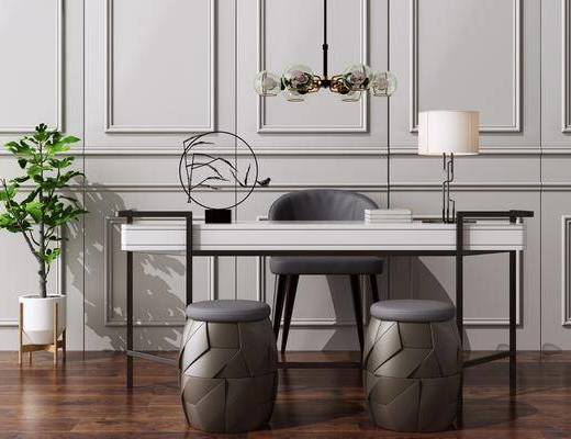 辦公桌, 電腦桌, 洽談桌, 新中式吊燈, 桌椅組合, 墻飾