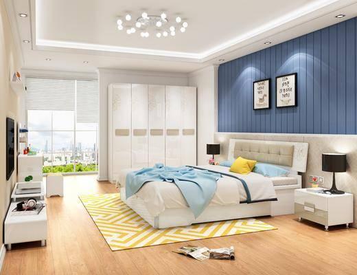 单人床, 衣柜, 吊灯, 装饰画, 电视柜, 摆件组合