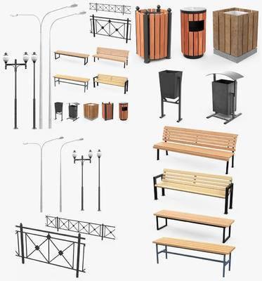 户外椅, 垃圾桶, 护栏, 路灯, 公共设施, 公共椅