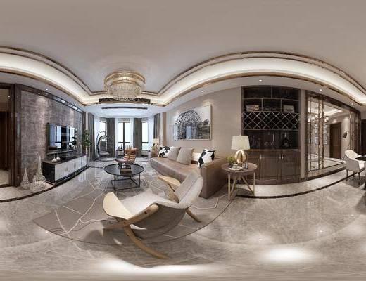 现代客厅, 现代餐厅, 客餐厅, 客厅, 餐厅