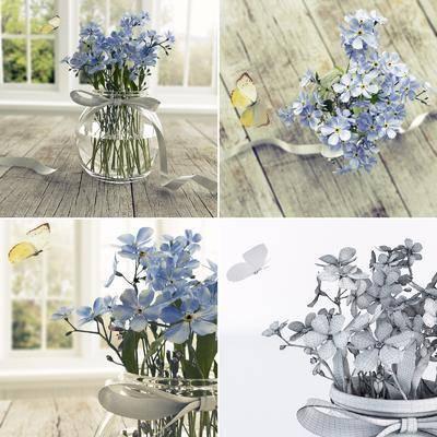 现代花卉, 花卉, 蝴蝶, 花瓶, 现代