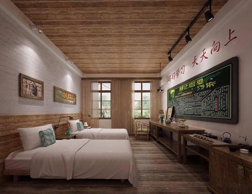 酒店客房, 双人床, 床头柜, 台灯, 茶具, 单人椅, 茶桌, 黑板, 吊灯, 射灯, 现代
