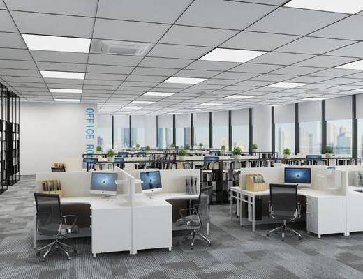办公室, 办公桌, 办公椅, 单人椅, 电脑桌, 桌子, 盆栽, 绿植植物, 吊灯, 现代