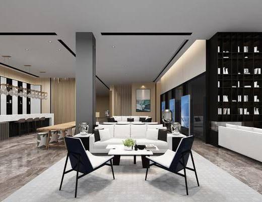 售楼处, 现代售楼处, 前台, 大厅, 书柜, 摆件组合, 桌椅组合