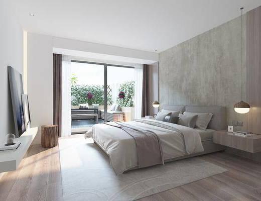 臥室, 床具組合, 吊燈, 擺件組合, 現代
