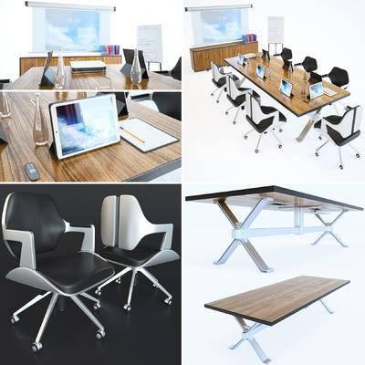 会议桌, 会议椅, 会议桌椅, 投影仪, 平板电脑, 办公用品, 投影机