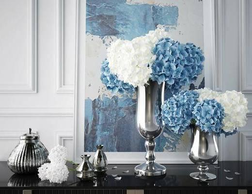 摆件组合, 现代摆件组合, 花瓶花卉, 现代