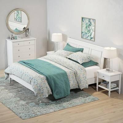 美式, 北欧, 床, 双人床, 装饰柜, 床头柜