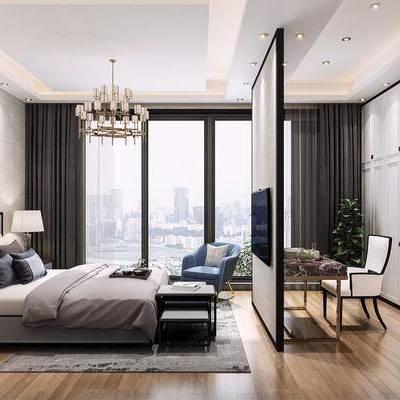 新中式卧室, 卧室, 双人床, 书桌椅, 衣柜