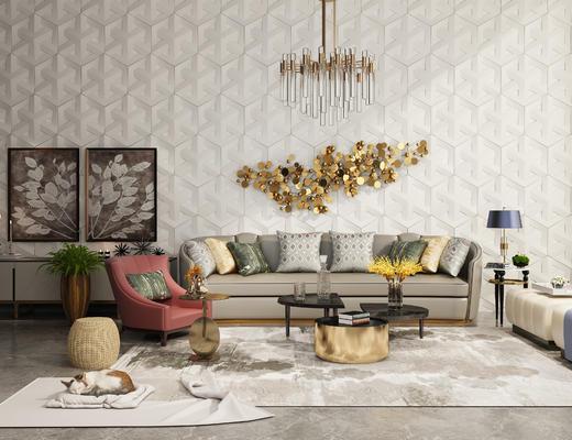 现代, 沙发组合, 墙饰, 灯具