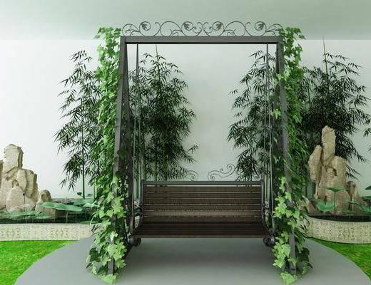 吊椅, 竹子, 植物, 树木, 现代