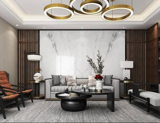 中式, 新中式, 单人椅, 单椅, 休闲椅, 装饰画, 挂画, 吊灯, 书架, 置物架