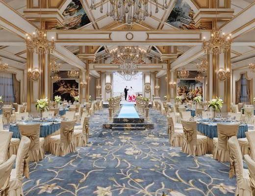 宴会厅, 酒店, 欧式宴会厅, 桌椅组合, 餐桌, 吊灯, 餐具, 花瓶花卉, 欧式
