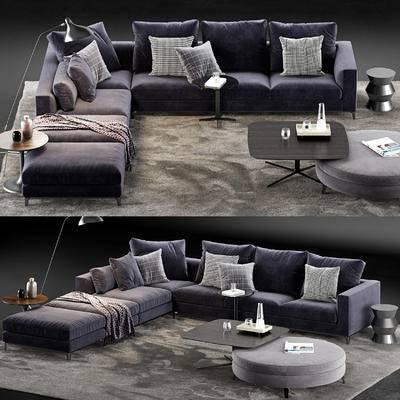 转角沙发, 脚踏, 沙发凳, 茶几, 边几, 落地灯, 地毯, 沙发组合, 沙发, 摆件, 装饰品, 现代