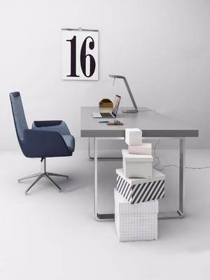 现代, 书桌, 桌椅组合, 单椅, 装饰画