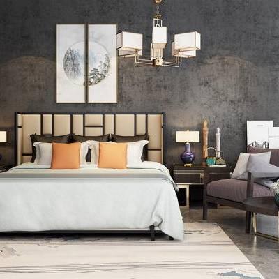 新中式, 卧室, 双人床, 休闲椅, 挂画, 灯具, 地毯