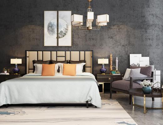 新中式, 卧室, 双人床, 休闲椅, 挂画, 灯具