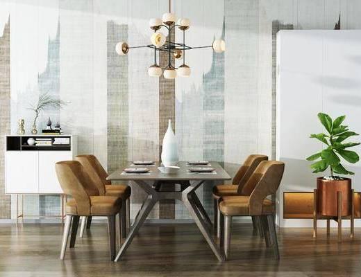 桌椅组合, 餐桌, 椅子, 吊灯, 边柜, 装饰柜, 盆栽, 现代