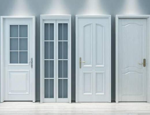 门, 卫生间门, 单开门, 房门, 白色门, 构件