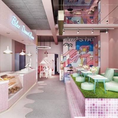甜品店, 奶茶店, 桌子, 书桌, 单人椅, 食物, 吊灯, 展示柜, 落地灯, 装饰画, 挂画, 摆件, 装饰品, 陈设品, 现代