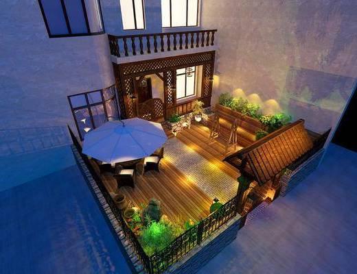 室外景观, 花园庭院, 门面门头, 现代
