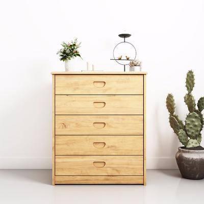边柜组合, 装饰柜, 边柜, 北欧边柜组合, 植物, 盆栽, 仙人掌, 装饰品, 斗柜