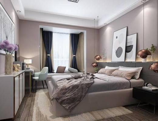 现代卧室, 北欧卧室, 卧室, 床, 梳妆台, 椅子, 装饰柜, 挂画