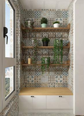 阳台, 露台, 绿植, 植物, 盆栽组合